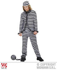 Childrens Black White Convict Fancy Dress Costume Halloween Prisoner Outfit 128C
