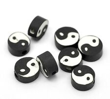 Black & White Yin Yang Tai Chi 10mm Polymer Clay Coin Beads 20pc