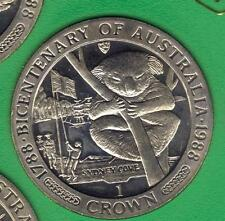 1988 ISLE OF MAN BICENTENARY AUSTRALIA BASE METAL CROWN IN MINT CONDITION (3)
