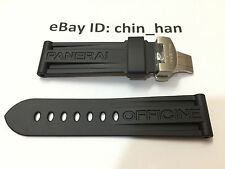 Rubber Watch Strap With Silver Deployant Buckle 24mm for PAM