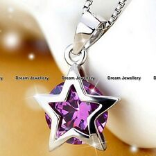 Lucky Star Purple Crystal Pendant Necklace For Women Girls Daughter Gifts Her Z1