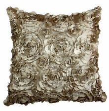 """SET OF 4 ROMANTIC 3D ROSE FLOWER SPIRAL CUSHION COVER 16"""" BROWN RED GOLD TEAL"""