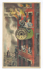 1880's ESCAPE BURNING BUILDING AD CARD, GREAT TO PUT W/ CARPENTER BURNING BLGD