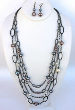 Long Dressy Taupe Rose Glass Grey Pearl Hematite Cable Link Strand Necklace Set