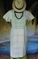 Cream & Light Green Amuzgo Huipil, Hand woven Oaxaca Mexico Hippie Boho Santa Fe