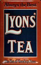 """Plaque Acier Embossée """"Lyons Tea Always The Best"""" (hi 3020)"""