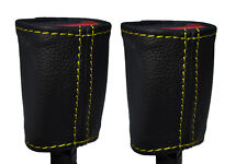 YELLOW STITCH 2X FRONT SEAT BELT LEATHER COVERS FITS HOLDEN COMMODORE VR VS
