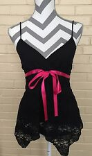 Black Lace Camisole With Pink Sash By Teenie Weenie Women's Size Small