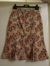 Dusky Pink & Multicoloured Floral Roses Corduroy Skirt by Wanko - Size 6 - NWT
