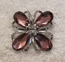 CLASSIC PIN BROOCH INTRICATE ARTISTIC BLOOMING FLOWER PURPLE COSTUME STONES VL-W
