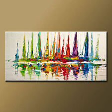 Modern Abstract Handpainted boat ship to sea Oil Painting On Canvas(with framed)