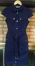 Burberry Cap Sleeve Cotton Navy Belted Dress, Size Small