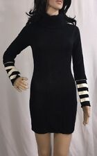 Red Paint Sweater Dress Black And White Striped Turtleneck Bodycon - Small