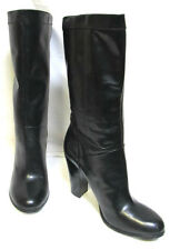 sz 10/42 NINE WEST black smooth Leather Boots sexy mid-calf sturdy heel NEW $260
