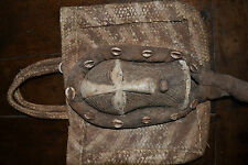 Rare African Congo tribal medicine man's bag with wood and shell mask c1960