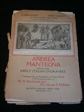 Antique CATALOG for Exhibition of ITALIAN ENGRAVERS, Andrea Mantegna,, c1912