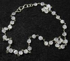 "RAINBOW MOONSTONE Faceted Flat Round Crystal Gemstone NECKLACE 17"" Silver Plated"