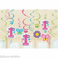 12 Sweet Pink Butterfly Girl's 1st Birthday Party Hanging Swirls Decorations