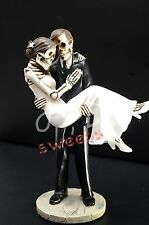 Wedding Skeleton Cake Topper-Groom Caring Bride-Halloween Party Supply-Figurine