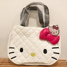 Hello Kitty x Loungefly White Quilted Face Red Bow Tote Bag SANTB0209 Free Ship