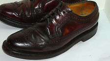 VINTAGE FLORSHEIM IMPERIAL WINGTIP SHELL CORDOVAN LEATHER SHOES! BURGUNDY! 7.5 D