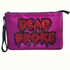Iron Fist DEAD BROKE CLUTCH Purse pink and red sequins Front Statement punk