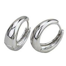Handsome 9K Silver Filled White Gold Filled Smooth Womens Hoop Earing 20MM
