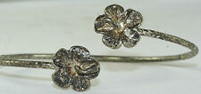 VINTAGE JAMAICAN WI STERLING SILVER ORCHID FLOWER CUFF BRACELET A