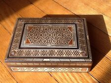 Vintage Walnut Mosaic of Mother of Pearl & Bone Jewelry Box -smaller than other1