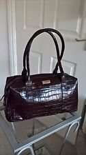 BNWOT DESIGNER OSPREY GENUINE BROWN LEATHER CROC PRINT HANDBAG SHOULDER BAG