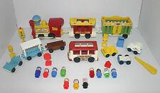 Joli ensemble vintage fisher price little people cirque train, mini bus & plus