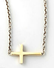 New Men Gold Tone Horizontal Cross Pendant Necklace Chain Jewelry
