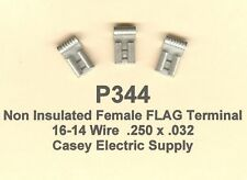100 Non Insulated Female FLAG Terminal Connectors #16-14 Wire AWG .250 Tab MOLEX