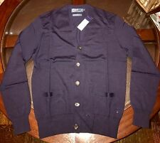 Ralph Lauren Mens 100% Merino Wool Cardigan Sweater Navy Blue Sz S New W Tags