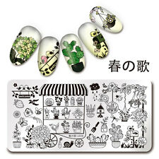 1Pc Nail Art Stamping Plate Potted Plant Gard Manicure Template Harunouta L036