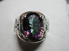 MENS DISTINCTIVE FINE GENUINE 7.2ct  MYSTIC TOPAZ WITH EMERALDS  STERLING  RING
