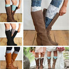 Stretch Lace Boot Cuffs Flower Leg Warmers Lace Trim Toppers Socks
