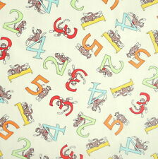 [Precut] 75x112cm 5 Funky Sock Monkeys Counting Numbers Cotton Fabric - PC769