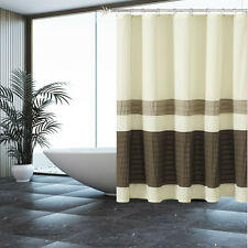 Fabric Shower Curtain: Beige with Pleated Tan and Brown Pintuck Stripes