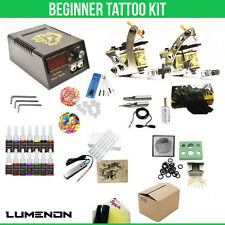 Tattoo Kit 2 Machine Gun 14 Color ink Tip Power Supply Set 20 Needles Grip Tips