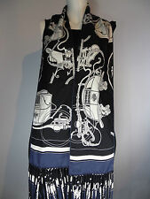 AUTH HERMES  Fringed  Long Scarf ' Ex Libris '