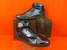 NIB GUCCI BLUE SHINY LEATHER LACE UP HI TOP VELCRO SNEAKERS 9 10