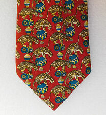 Circus animals silk tie by d'Argenlieu Tiger leopard balls drum Big Cats Novelty