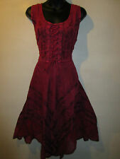 Dress Fits M L XL Sundress Dark Pink Corset Lace Up Chest Sexy Lace Hem NWT 601