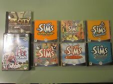 PC 8 LOT SIMS CD ROM DELUXE UNLEASHED SUPERSTAR VACATION PET HOUSE PARTY CITY
