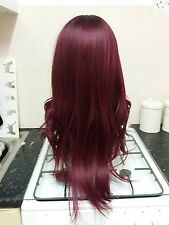 Red, Purple, Human Hair Wig, Real Hair, side fringe, Ombré, Lace Front