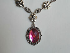 CAMELLIA FILIGREE VICTORIAN STYLE HOT PINK ACRYLIC SILVER PLATED NECKLACE CFH