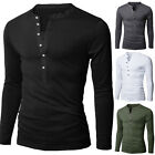 Fashion Men Lined Cotton Henley Thermal Long Sleeve V-Neck T-shirt Slim Fit Tops