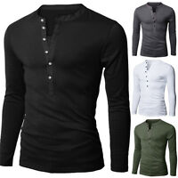 New Mens Fashion Long Sleeve V-neck Button Front Solid Casual T-shirt Tops Tee