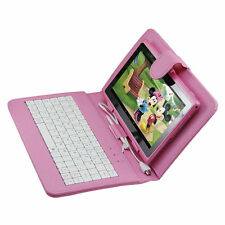 "New 8GB Pink 7"" Android 4.4 A33 Tablet PC For Kids Children Bundle Keyboard Case"